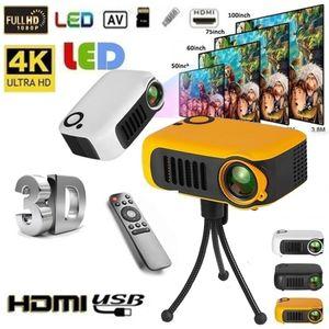 Proiettore portatile 800 lumen Supporti 1080P LCD 50000 ore di durata della lampada Home Theatre Videoproiettore per la Banca di potere AU / UK / US / EU Plug