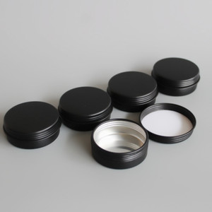 Navio livre 50 pçs / lote 20g 25g preto alumínio frasco cosmético, 20 ml 25 ml preto fosco recipiente de lata de alumínio, maquiagem creme labial pode