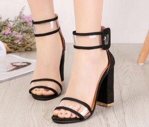 Yeni stil kadın Sandalet 2019 Yeni Tip Kaba topuklu Şeffaf Tek kelime Raptiye Yüksek topuklu ayakkabılar Gece kulübü parti elbise düğün