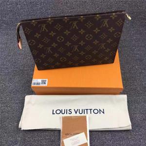 ORIGINAL 상자 세면 POUCH 26CM 작은 가방 패션 여성 남성 핸드백 최고 품질의 가죽 핸드백