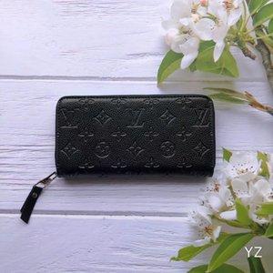Siyah kırmızı pembe LandV Kabartma moda tek fermuar tasarımcısı erkekler kadınlar deri cüzdan bayan bayanlar uzun çanta