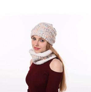 Slouchy lavorato a maglia cappello del Beanie sciarpa Set 4 stili sci Cappellino invernale addensare peluche foderato Neck Warmer 2pcs / set LJJO7198