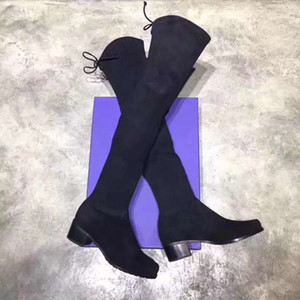 2019 neue Herbst-Winter schwarze weibliche Frauen Oberschenkel-hohe Stiefel klobigen Fersen SW5050 Rund Zehe flache Art und Weise barrelled Stretch Stiefel