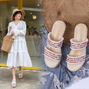 Goddess2019 Kadın Terlik Serin Xia Baida Yazım Renk Hasır Kıvrılmış Makale Kenevir Halat Bir Kalın Alt Plaj Ayakkabıları