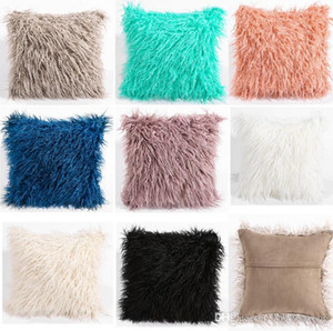 45cmx45cm simples Plush fronha (sem travesseiro) Car Casual Faux Fur Plush Throw Pillow deslizamento Início assento cintura Pillow tampa da caixa 8 cores