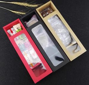 Şeker Bisküvi Çikolata Kağıt Karton karton hediye kutusu için plastik pvc pencere ile Kraft kağıt Macaroon kek Ambalaj Kutusu