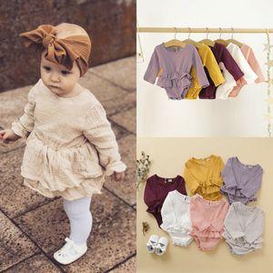 Cotone della neonata del pagliaccetto appena nato del bambino vestiti della ragazza a maniche lunghe pagliaccetto CottonLinen tuta principessa Autunno Nuovo Born Outfits