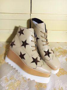Stella Mccartney Plateaustiefel Damenschuhe Elyse Sterne Wedges Top-Qualität Blingbling Full Grain Leder Oxfords Schuhe 15 Farben Sneakers