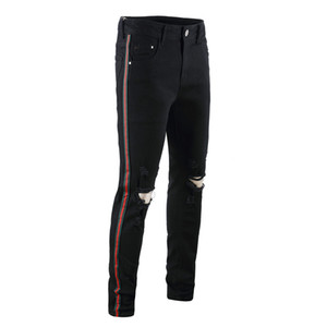 Homens quentes Designer de Buraco Preto Calça Jeans Verde Fita Vermelha Trecho Mens Jeans Moda Mens Pencil Pants