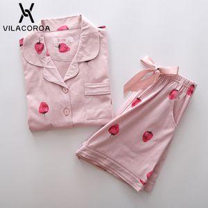 Vilacoroa 2018 Strawberry Print Kurzarm Bluse Shorts Pyjama Set Rosa Umlegekragen Niedliche Nachtwäsche mit Knopf C19040901