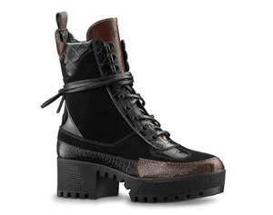 Las mujeres botas de diseño de lujo de cuero del tobillo de arranque grueso talón Martin zapatos de cuero de la impresión Plataforma desierto con cordones de la bota de 5 cm de tacón bajo Chunky