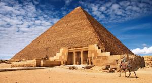 """Puesta del sol - Egipto pirámide mundo peculiar arquitectura paisaje turístico seda tela poster 43 """"x 24"""" 24 """"x13"""" decoración -03"""
