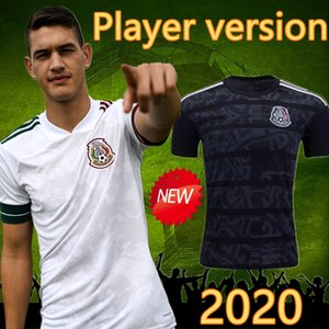2020 Oyuncu Versiyon Meksika Futbol Forma Milli meksika Dışarıda Beyaz 19 20 Siyah Chicharito LOZANO Guardado CARLOS VELA RAUL Futbol Gömlek