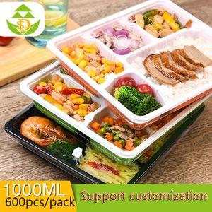 Tek kullanımlık öğle yemeği kutusu plastik pp atılabilir atıştırmalıklar paketleme beş özel paket fast-food öğle konteyner özel kutu