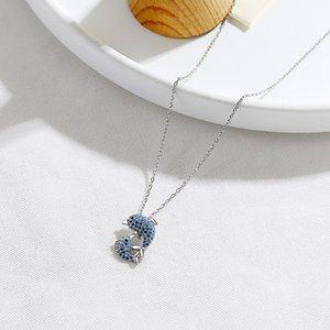 Nouveau S925 Collier Argent Double Dolphin Sterling Mesdames Mode Simple Blue Fish Clavicule chaîne avec strass 6-XL1006