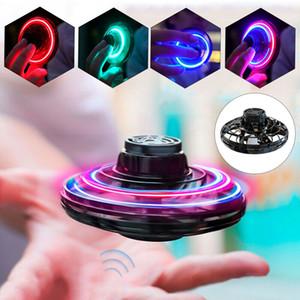 FlyNova UFO Fidget Spinner niños de juguete portátil del vuelo 360 ° de rotación Shinning eléctrico / RC Aviones luces LED de Navidad de lanzamiento nave volando Fast Red