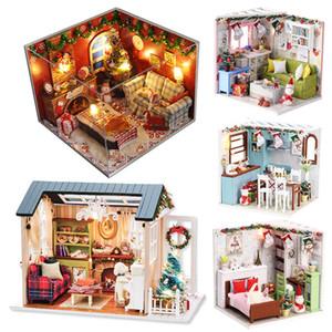 CUTEBEE casa de muñecas en miniatura de bricolaje Casa de muñecas con muebles de madera regalos Casa juguetes para los niños de Navidad MX200414