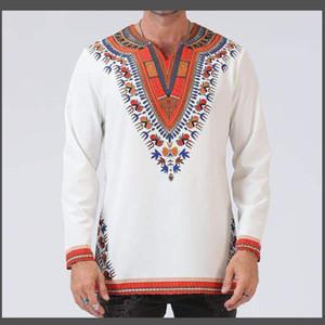 Hochwertige Herren African Dress Shirts 2018 Brand New Langarm Shirt Männer Casual Tribal Ethnic Print afrikanische Kleidung