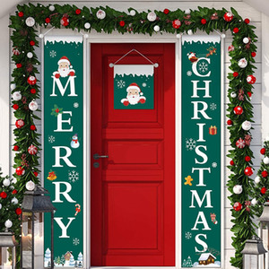 عيد الميلاد الاثنان باب راية مغطاة تسجيل عطلة عيد الميلاد الشنق الديكور مغطاة تسجيل الديكور حزب العائلة للتسوق مول LJJP291
