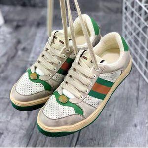Top-Qualität Schmutzige ACE-echtes Leder-Designer-Turnschuhe Weiß beiläufige Schuh-Designer-Schuhe New Green Bestickt mit Web Für Männer Frauen