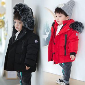 manteaux d'hiver enfants de détail garçons Vestes d'hiver chaud d'automne pour les garçons 1-5 ans Enfants col en fausse fourrure à capuchon chaud Manteaux vêtements pour enfants