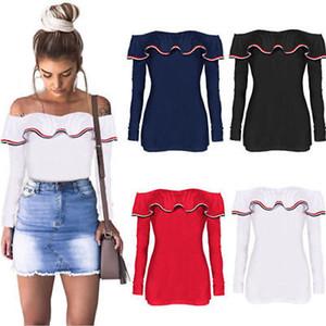 Горячая сексуальная с плеча Женские футболки 2019 мода Женская летняя рубашка с длинным рукавом свободные повседневные тройники топы футболка
