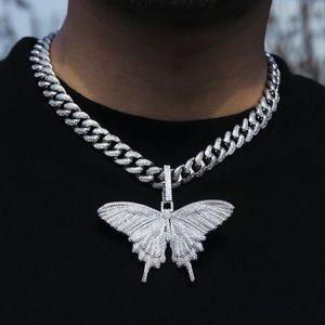 takı gerdanlık 5mm cz tenis zincir altın gümüş pembe cz kelebek kolye hip hop kadın erkekleri bling kıvılcım dışarı buzlu kaliteli