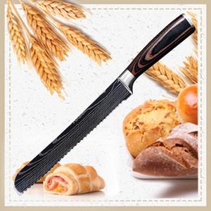Coltelli da 8 pollici Coltelli a base di carne Coltello a lama serrate Coltello da cucina in acciaio inox con manico in legno di colore
