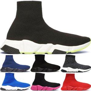 2020 Designer Speed Trainer Fashion Luxury Men Women Sock Shoes Black White Blue Oreo Red Flat Mens Sport Runner Sneakers 36-45