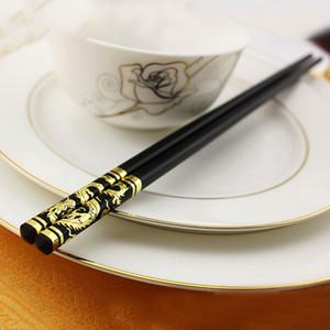 1 Çift 27 cm Altın Ejderha Phoenix Çin Japon Çubuklarını Kaymaz Alaşım Suşi Chop Sopa Set Çin Hediye