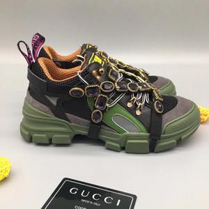 El más reciente FlashTrek la zapatilla de deporte con cristales desmontables para hombre de los zapatos de lujo de diseño casual de lujo de la manera de las mujeres zapatillas de deporte Tamaño 35-45c