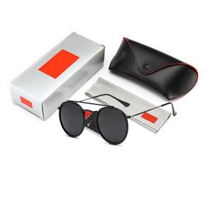 Moda Atacado 3647 óculos de sol redondos para Brand Design Homens de metal estilo óculos de sol clássico Vintage Sun Óculos Óculos de Sol com caixa caso