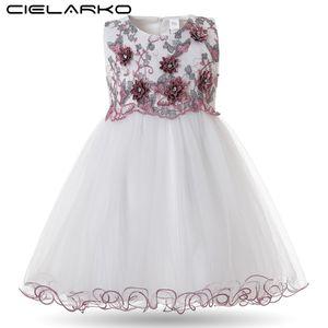 Cielarko Criança Meninas Vestido Elegante Princesa Aniversário Do Bebê vestido de Baile 2018 Vestidos Da Menina de Flor Bordado Infantil Pageant Frocks Y190516