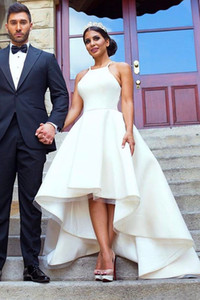 Simple A line High Low Country Wedding Dresses A line Satin Halter Ruched Court Train 2020 Wedding Bridal Gowns Cheap New