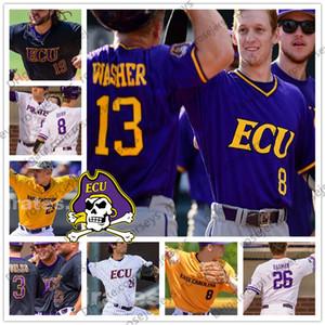 Custom East Carolina Pirates 2019 ECU Baseball Qualsiasi Nome Numero Viola Bianco Nero Giallo 13 Jake Washer 8 Turner Brown Men Youth Jersey