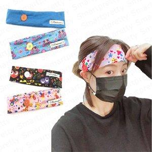 Kadınlar Karikatür Yüz Kulak Koruyucu Yetişkin Salonu Spor hairbands Elastik Hairlace Saç Aksesuarları DHL E4912 için Button ile Headband Maske