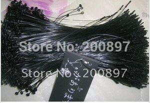 Promotion wholesale plastic manual loop pin string garment hang tag string black white 1000pcs lot