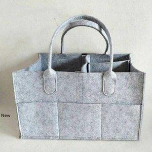 Baby Diaper Bags Gray infant Diaper Tote Bag Portable Car Travel Organizer Felt Basket Newborn Girl Boy Nappy Storage Bag Favor RRA2789