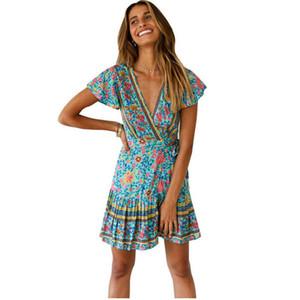 Frauen Blumendruck Minikleid Hot Fashion Sommer Kurzarm V-Ausschnitt dünne Kleidung Boho Holiday Schärpe kurze Vestidos femme