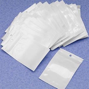 12 * 20 سم واضح + أبيض اللؤلؤ سستة البلاستيك بولي مقابل مربع التعبئة حزمة البضائع أكياس pvc البلاستيك حقيبة ل اكسسوارات الهاتف الكابلات