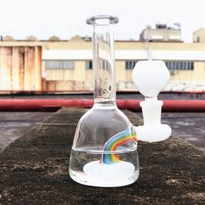 Plataforma de aceite de la plataforma petrolera de la planta de reciclaje de arco iris con un recipiente de agua de vidrio único de 14 mm de tazón blanco 6 pulgadas mini bong de vidrio llamativo para fumar accesorios