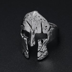 Spartan Vintage Helmet Mask Color Male Men Punk Finger Biker Silver For Cool Antique Jewelry Rings Gold Hero Ring Otxbx