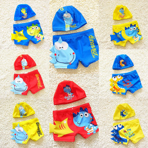 DHL Cartoon dinosaur fish Kids Baby Boy Beach Swimsuit Swimwear Trunks Shorts+Hat Set Kid Children Swimming Suit Summer Outfit