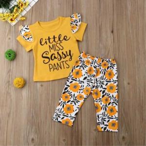 Bebek kız giysileri set yaz çocuk Little Miss Sassy kıyafet Toddler Fly kollu T-Shirt + Çiçek pantolon 2 adet çocuk giyim seti