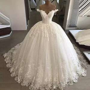 Custom Made Off Shoulder Lace Ball Gown Wedding Dresse Appliqued Sequins Cap Sleeves Court Train Lace Up Tulle Wedding Bridal Gowns
