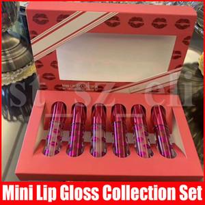 Nueva colección de labios maquillaje de labios de mini 6 colores sistema de la caja roja de San Valentín brillo de labios 6pcs / set líquido mate barra de labios kit de regalo de navidad