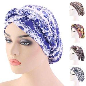 Boho Women Muslim Beanie Hair Loss Hat Printed Hats Braid Cancer Chemo Head Cover Caps Bonnet Islamic Turban Arab Head Wrap New
