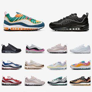 Nike air max 98 airmax Stock X Black Off Noir Reflective 98 Mens running shoes Rose Gundam South Beach 98s Team Orange men women sports sneakers 7339044 7427086