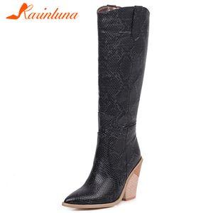 KARIN Nouveau dames Hauts talons Bottes femmes Fashion Party Western Boots Pointu Toe Knee Chaussures Femme Hauts