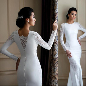 2020 Modest Long Sleeves Lace Mermaid Wedding Dresses Satin Appliqued Trumpet Wedding Dress Bridal Gowns Plus Size vestidos de novia BC2685